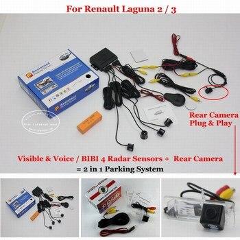 For Renault Laguna 2/3 Car Parking Sensor Sensors Alarm System Auto HD Rear View Reverse Camera