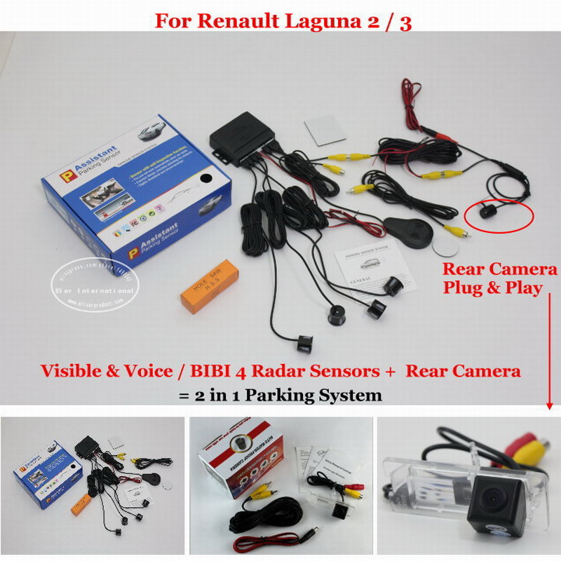 Liislee For Renault Laguna 2 / 3 - Car Parking Sensors + Rear View Camera = 2 in 1 Visual / BIBI Alarm Parking System car parking sensors rear view camera 2 in 1 visual bibi alarm parking system for subaru forester sj 2012 2015
