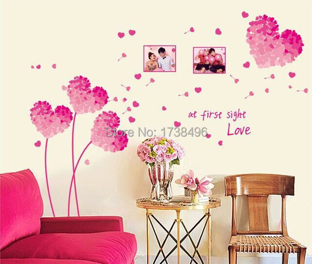 Heart Wall Stickers Pink Love Decoration Wedding Home Decor Vinyl Ay7176 In From