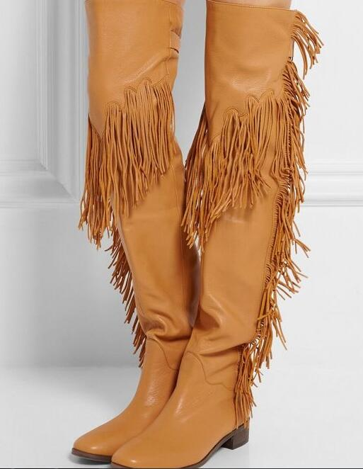 High Quality Over The Knee Black Fringe Boots-Buy Cheap Over The ...