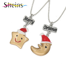 SKEINS BFF Jewelry 2pcs/Set Merry Christmas Charms Stars And Moon Couple Pendants chocker Necklace Food jewelry For Kids Gift