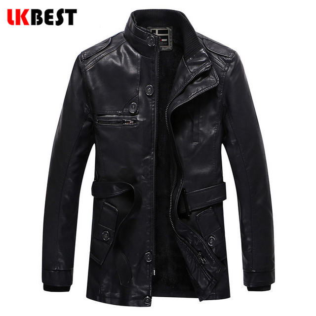 2017 New Men's leather jacket long PU men warm leather coat bomber jacket  wool liner Youth Motorcycle Suede Jacket Male (PY31)