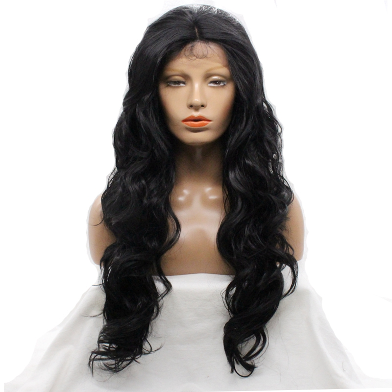 DLME 30 inch black body wave realistic wigs 180% synthetic natural babyhair hairline long women wig no shed soft hair