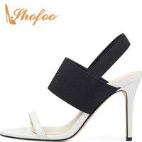 Black White Ankle Wrap Sandals Woman Stilettos Super High Thin Heel Fashion Concise Mature Ladies Summer Shoes Large Size 31 39