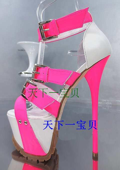 2017New Arrival Summer Bling Pink High Platform Woman Sandals Buckle Strap Women Pumps Super High Heel Nightclub Plus Size xiaying smile summer new woman sandals platform women pumps buckle strap high square heel fashion casual flock lady women shoes