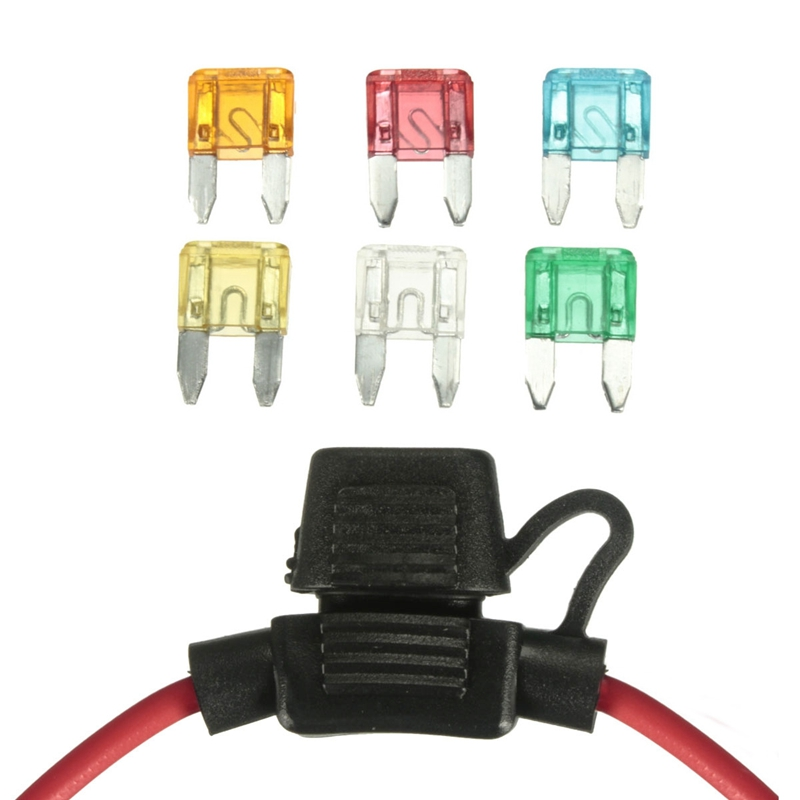 Waterproof In Line Mini Blade Fuse Holder with 6 Fuses 12V Car Automotive 5A 10A 15A 20A 25A 30A 14 AWG Auto Car Fuse Holder mini blade fuse assortment auto car motorcycle suv fuses kit apm atm 5a 10a 15a 20a 25a 30a 35a regular size blade
