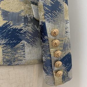 Image 5 - TOP QUALITÄT Stilvolle 2020 Designer Blazer frauen Lion Tasten Zweireiher Colo Block Jacquard Blazer Jacke Oberbekleidung
