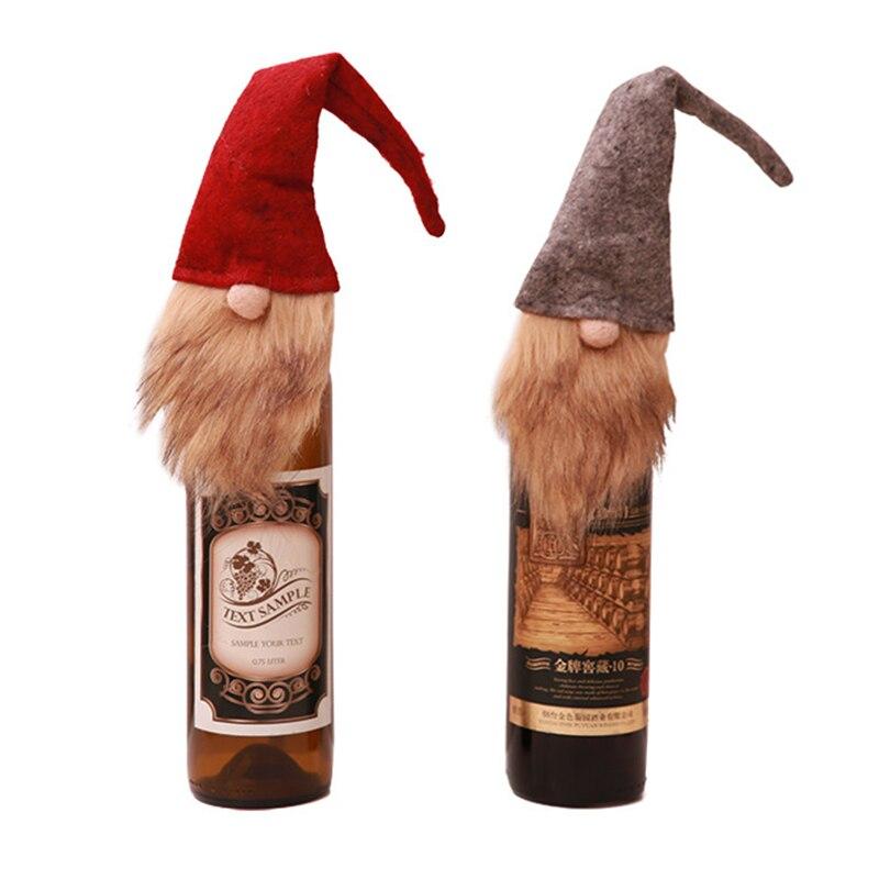 Household Merchandises Home & Garden 2pcs/set Christmas Wine Bottle Cover Old Man Faceless Doll Bottle Decor Kitchen Dinner Decoration For New Year Xmas Dinner Party