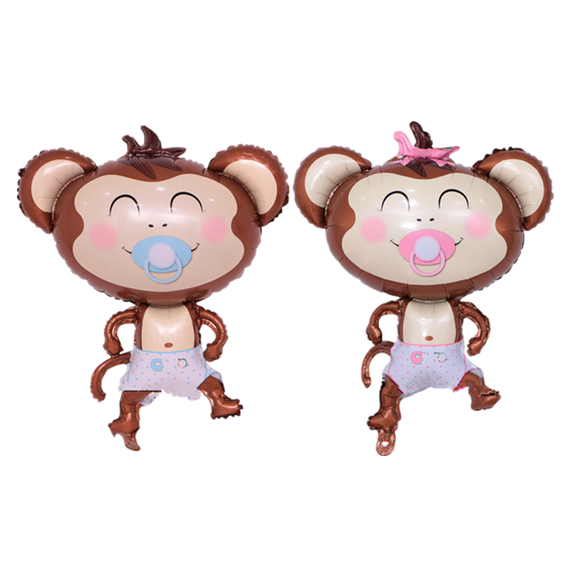 40 Inch Large Happy Pacifier Monkey Foil Balloon Cartoon Inflatable Air Balloon for Baby Shower Kids 1st Birthday Party Decor