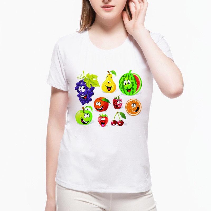 Ženy hroznové meloun tištěné trička ležérní tričko s krátkým rukávem módní styl ovoce tištěné dívka letní tričko w-a9 #