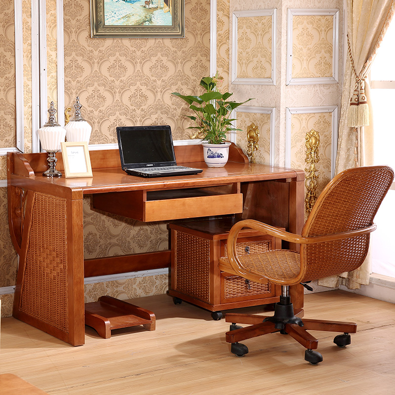 Rattan Office Chair Table Desk Porch Combination Real Furniture Dresser Computer W