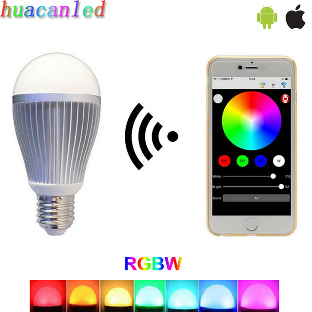led wifi bulb 2.4G dimmable music synchrony 9W E27 RGBW wireless remote control by IOS Android phone color changeable smart bulb