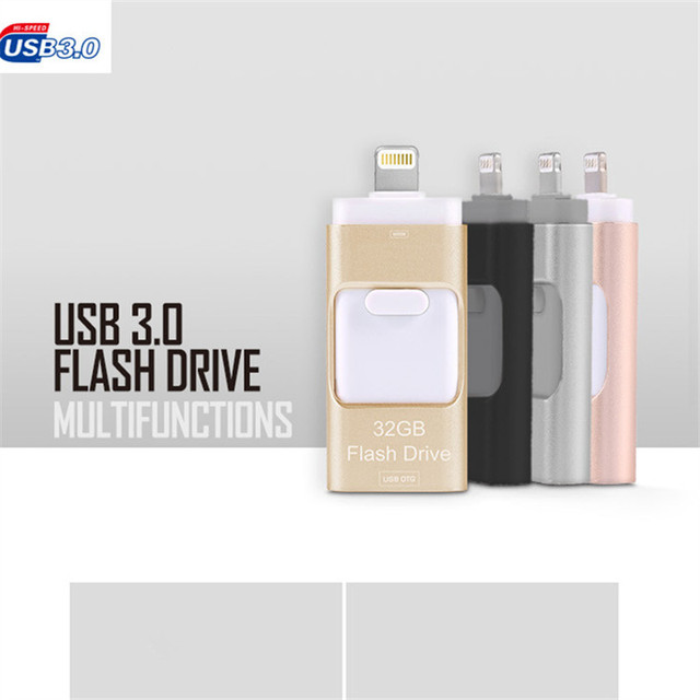 USB Flash Drive 3.0 For iPhone 7, 7 Plus 6 6S ipad Metal Pen Drive HD Memory Stick Dual Purpose Mobile Otg Micro 32GB 64GB 128G