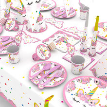 Unicorn Party Decor Birthday Latex Balloons Unicorn Theme Paper Hat Napkins Plate Table Cloth Kids Happy Birthday Gifts(China)