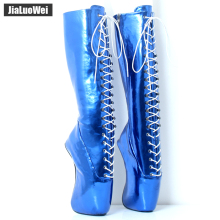 jialuowei 2018 New Fashion 18CM Super High Heel Hoof Heelless sole Customized Blue Metallic Sexy Fetish Knee-High Ballet Boots