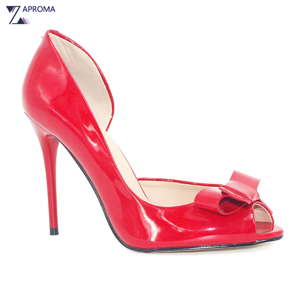 Fashion Super High Heel Peep Toe Shoes Women Black Red Thin Heels Butterfly knot Party Pumps Slip On Calf Leather Evening Shoes aiweiyi women high heels peep toe thin heels slip on platform pumps sexy party high heel pumps black red ladies wedding shoes