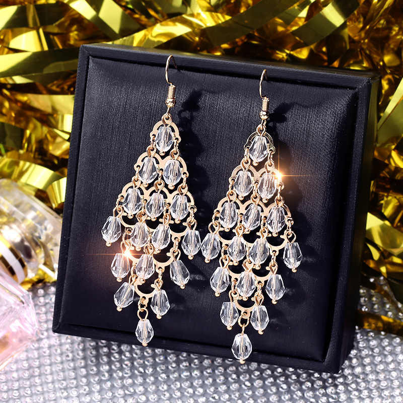 DREJEW Long Tassel Gold White Gray Crystal Pearl Statement Earrings Christmas 925 Drop Earrings for Women Wedding Jewelry HE136