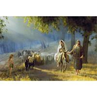 Hand painted Christmas Gift Famous artwork landscape religious oil painting Canvas Journey to Bethlehem modern art wall decor