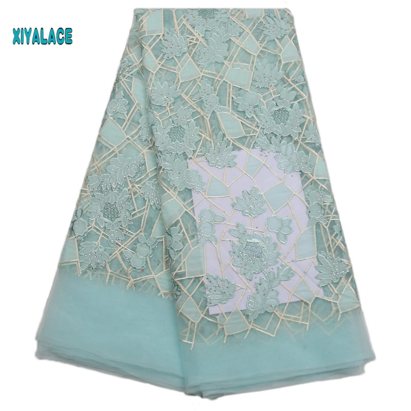 Swiss Voile Lace African Lace Fabric 2019 High Quality Lace Voile Lace Fabric Golden New Design Switzerland Add Stones YA1772B-2