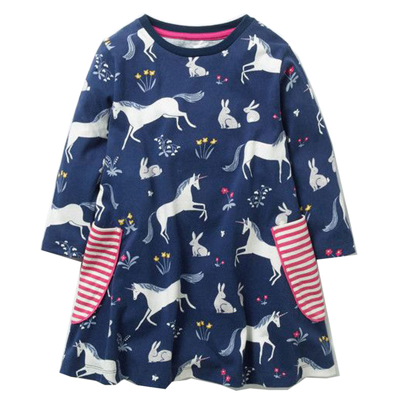Long Sleeve Girls Dresses 2018 Robe Fille Baby Girl Clothes Horse Animal Kids Party Dresses for Girls Princess Dress Children red blue kids dresses for girls long sleeve princess dress girls clothes flower bow decortion baby infant girl dress cheep price