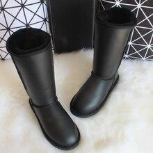 BLIVTIAE Australien/Luxus Winter Kniehohe Klassische Schaffellschneeaufladungen Natürliche Wolle Schaffell Stiefel Frauen Lange Stiefel Leder