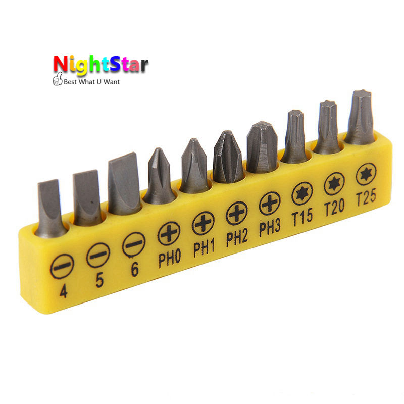 10Pcs/set Insert Bit Set Torx Flat Head Cross Electric Screwdriver Screws Head ...