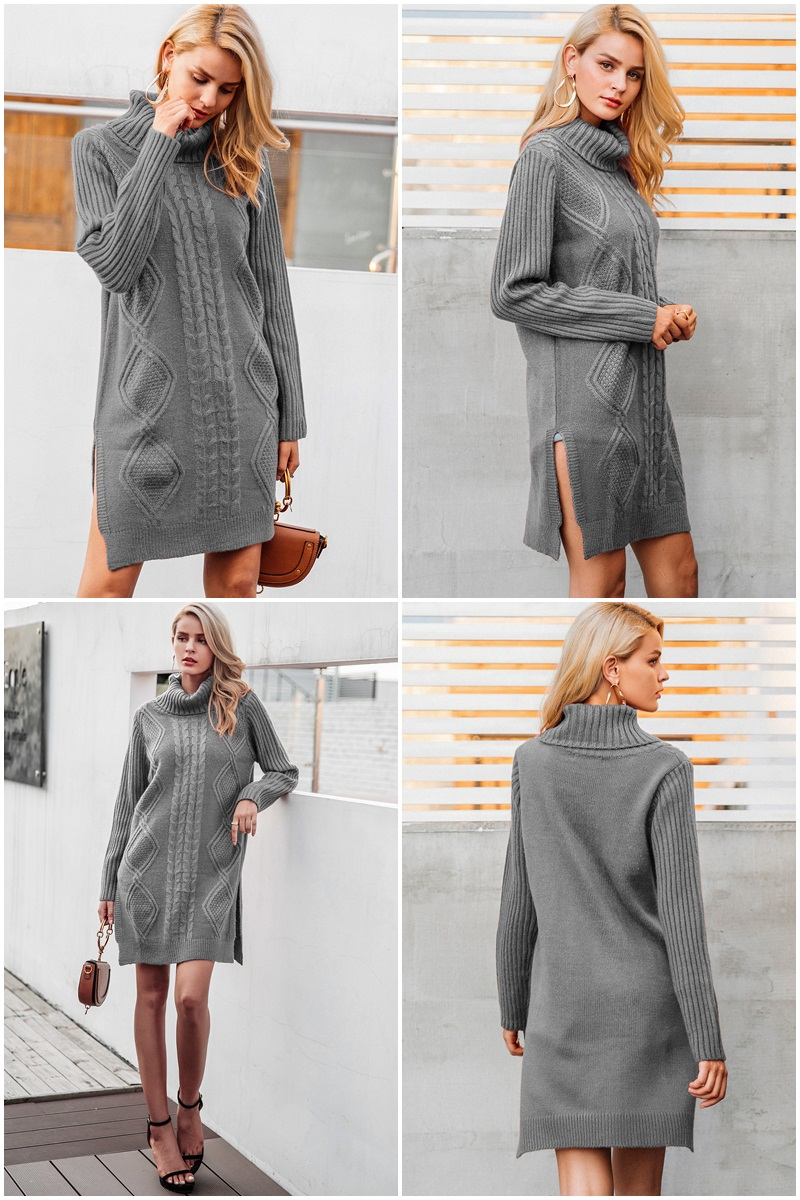 Simplee Turtleneck high split knitting pullover Autumn winter long sleeve leisure sweater dress women pull streetwear jumper 9
