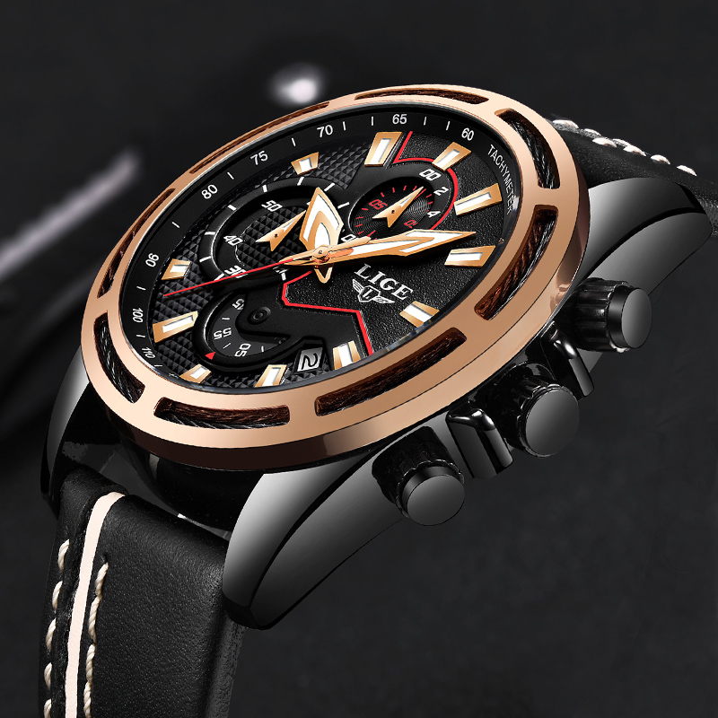 Mens Watch Brand LIGE Trendy Sports Watches Luxury Big Dial Chronograph Watch Waterproof Fashion Casual Quartz Wristwatch+Box цена 2017