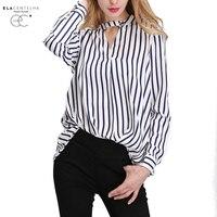 ElaCentelha Women Summer Autumn 2016 Tops Chiffon Blouse Women Shirts New Striped Plus Size Loose Elegant
