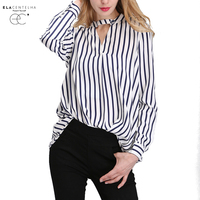 ElaCentelha Women Summer Autumn 2016 Tops Chiffon Blouse Women Shirts New Striped Plus Size Loose Elegant