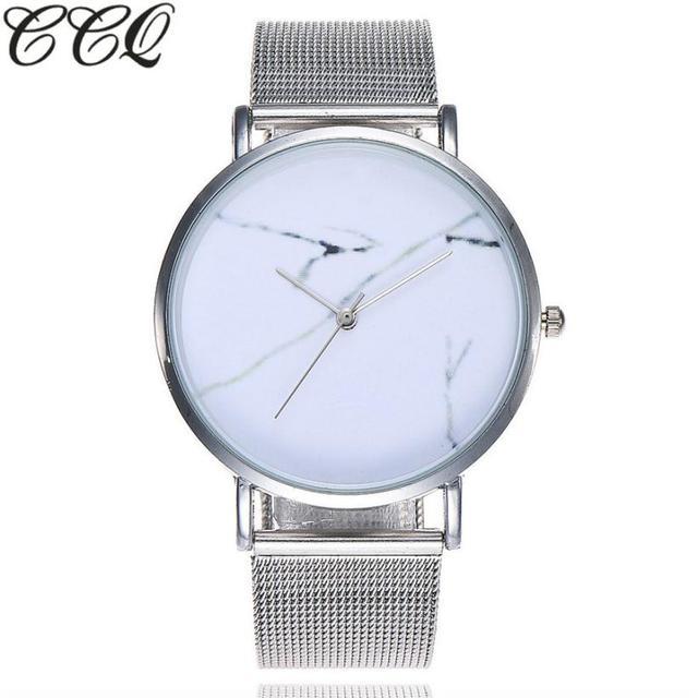 CCQ Casual cuarzo Acero inoxidable correa de mármol reloj de pulsera analógico relojes de mujer marca superior reloj de lujo mujeres silicio