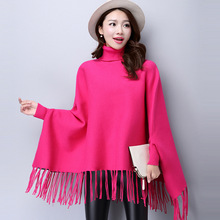 Fall Winter Women Turtleneck Poncho Sweater Korean Fashion Plus Size Loose Batwing Sweater Ladies Knitted Ponchos and Capes Coat(China)