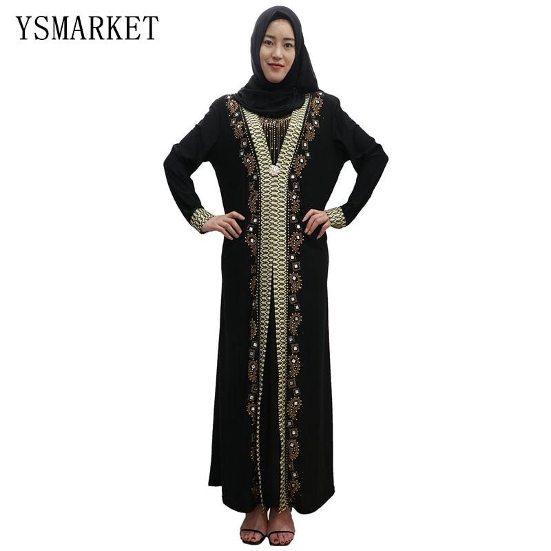 Detail Feedback Questions about Islamic hui dubai drilled robes muslim  abaya dress women fashion long hijab black print traditional clothing  dresses maxi ... a3569a7b12dd