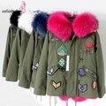 MAOMAOKONG Army Green Jacket Women Winter Coats Thick Parkas Real Raccoon Fur Collar Hooded Rex Rabbit Fur Lining Outwear