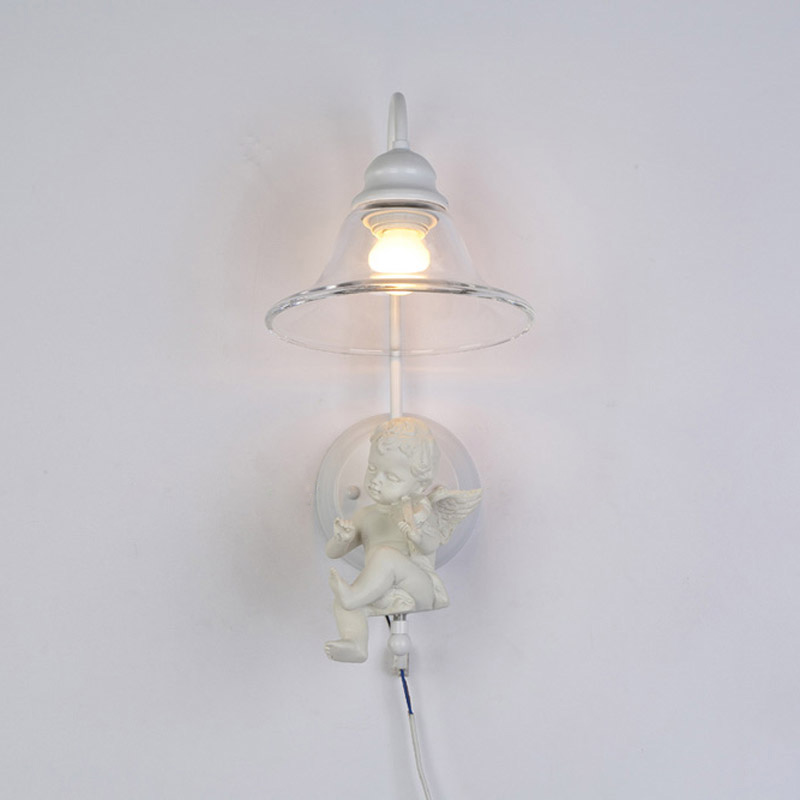 ФОТО Modern Wall Lights For Bedroom Bedside Lamp Resin Angel White Iron Lampshade Clear Glass Sconce Decor Home Lighting E27 110-240V