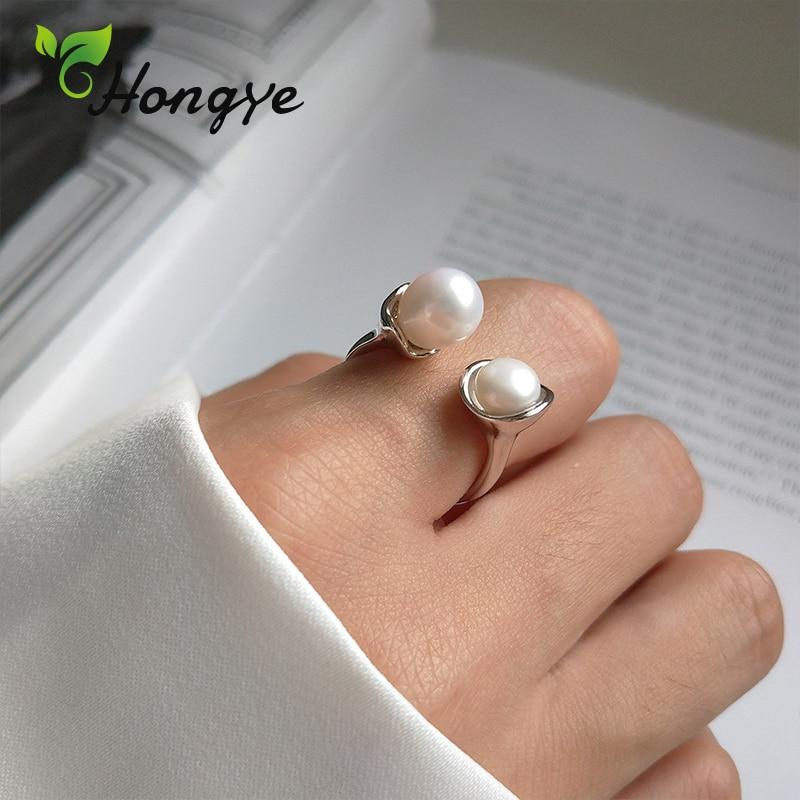 Hongye réglable Baroque perle anneau Chic perlé mariée bijoux de mariage cadeaux personnalisés pour ami dames 925 argent Sterling