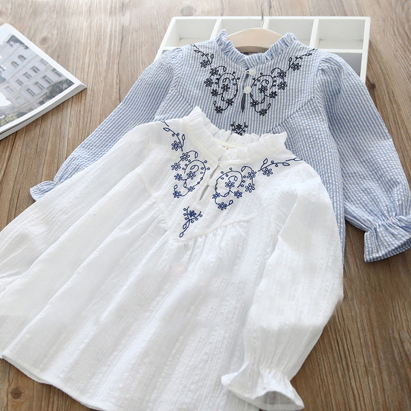 2018 New Spring Item Girl Embroidery Shirt Two Colors