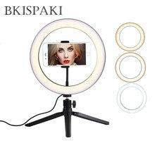 Kısılabilir fotoğraf Tripod halka ışık ile telefon tutucu LED Ringlights Selfie stüdyo standı için FB Livestream Youtube makyaj