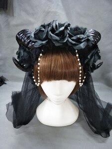 Image 4 - 블랙 마녀 뱀프 고딕 호른 팬 플라워 크라운 머리띠 할로윈 칵테일 파티 헤드 피스 멋진 드레스 액세서리