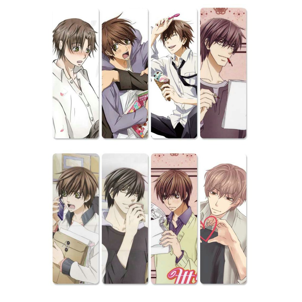 8pcs Sekai Ichi Hatsukoi Anime Bookmarks Waterproof Transparent PVC Plastic Bookmark Beautiful Book Marks Gift