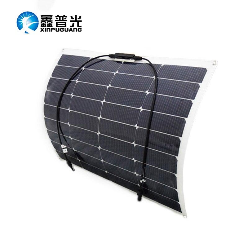 цена на Outdoor 18v 50w flexible solar panel 60 High efficiency monocrystalline silicon cell module for 12v battery RV yacht car house
