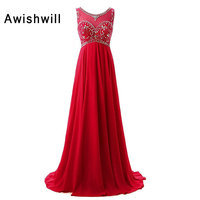 Real Photo Newest Party Prom Dresses With Beadings Chiffon Sleeveless Empire Waist Pregnant Women Evening Gown