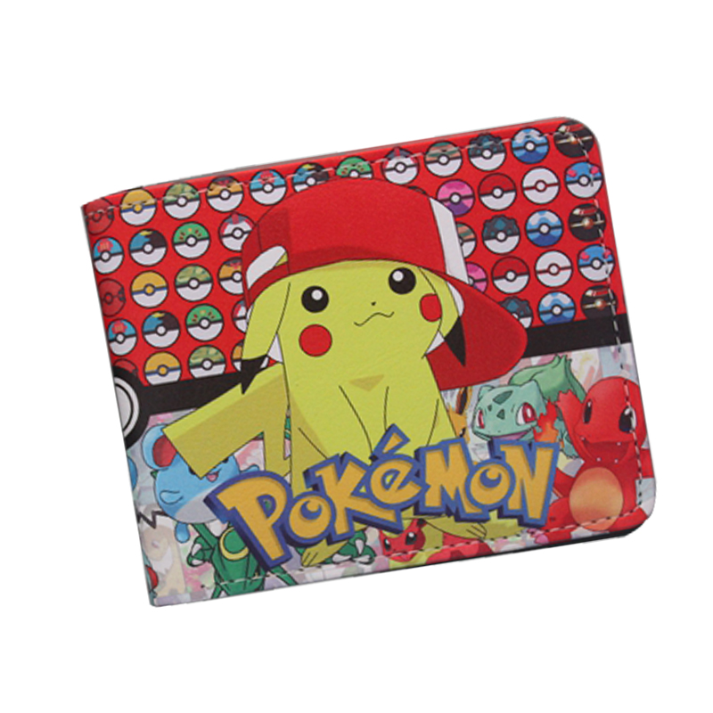 Pocket Monster Pokemon Wallet For Teenager Boy Girl Kawaii Pikachu Poke Ball Wallet Leather Student Dollar Bag Card Holder Purse