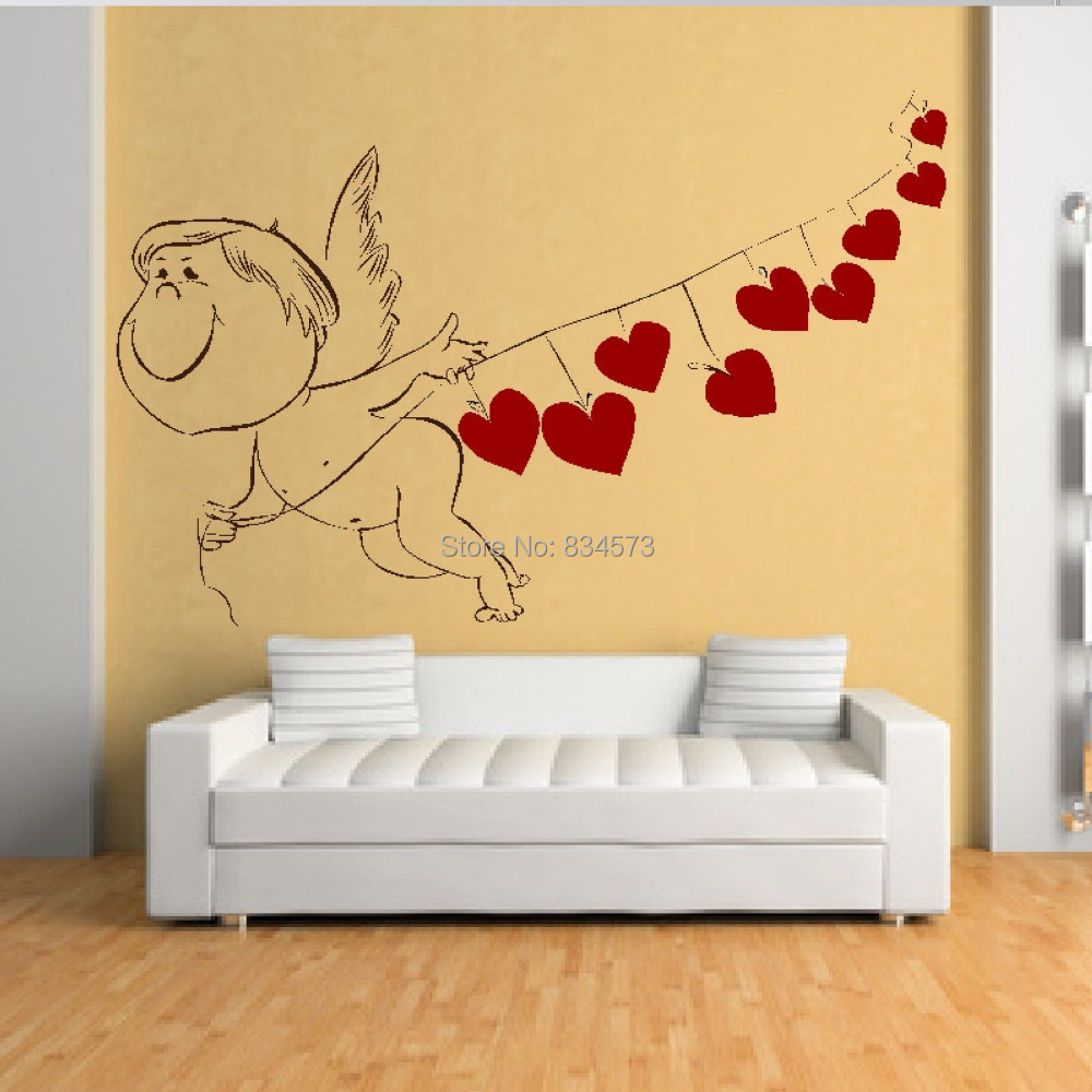 Mad World Love Cupid Heart Romantic Valentine Wall Art Sticker Wall ...
