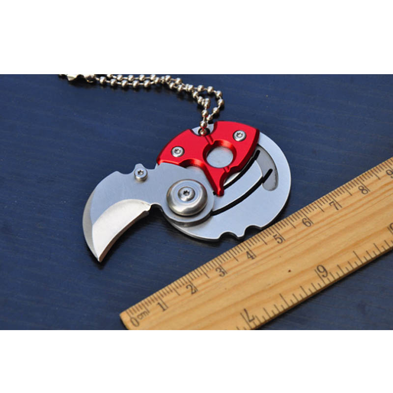 Self personal defense Mini Folding Coin Knife EDC Carry Tool Small Pocket Knife Keychain with Hanging Key Chain Survival Outdoor tito titanium alloy double holes refers to the tiger edc self defense tools multi function key ring multipurpose keychain
