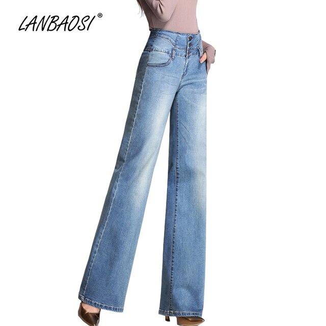 9f107060682d € 39.66 |LANBAOSI JEANS Mujer pierna ancha Mom Jeans tiro alto señoras  Palazzo Flare azul Denim Pantalones Casual lavado algodón niñas Pantalones  ...