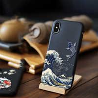 Per il iphone XR XS 10S Max X 8 7 Più 11 Pro Caso di Max 3D Relief Opaca Posteriore Molle copertura LICOERS Caso Ufficiale per il iphone Caso di 11Pro