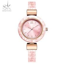 aaf738c3c43 Shengke Pulseira Mulheres Relógios para Senhora Vestido Da Moda Pulseiras  Cadeia Charme Estilo Rosa Mulheres Relógio De Quartzo .
