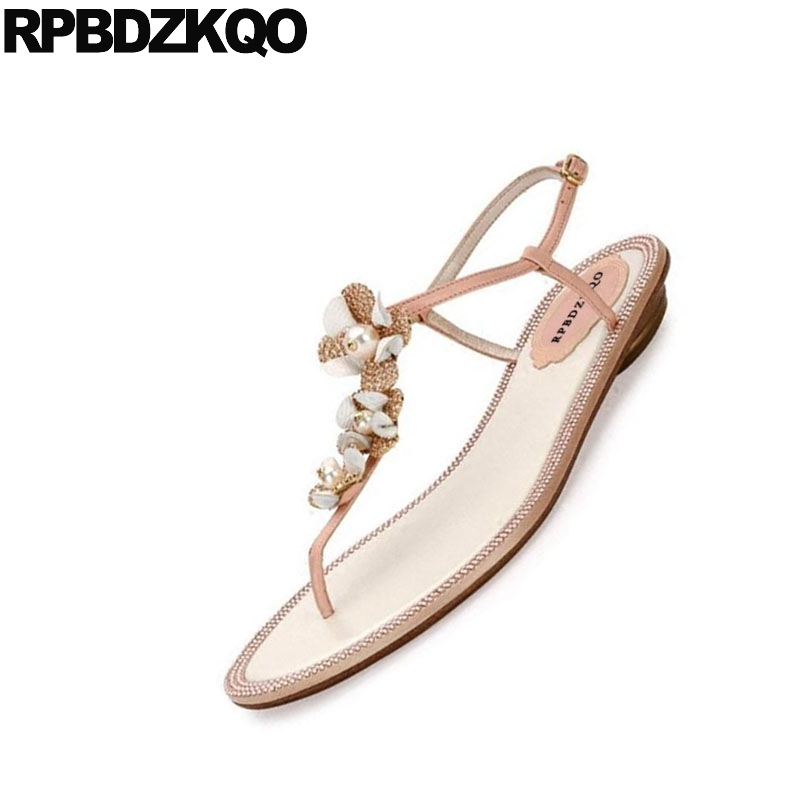 07af967dc3d63b ... Shoes Nude Women Sandals Flat Summer 2018 Thong Flip Flop Diamond Pearl  Flower Crystal Rhinestone Wedding ...