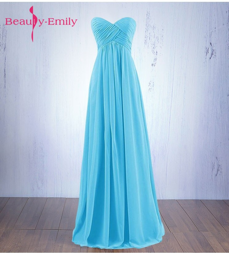 Beauty Emily New White Cheap Long Bridesmaid Dresses 2019 Sweetheart A Line Sleeveless Zipper Chiffon Wedding Party Prom Dresses
